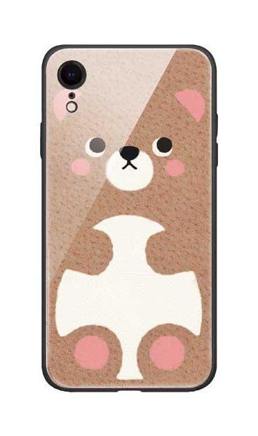 iPhoneXRのガラスケース、はこづめベアー【スマホケース】