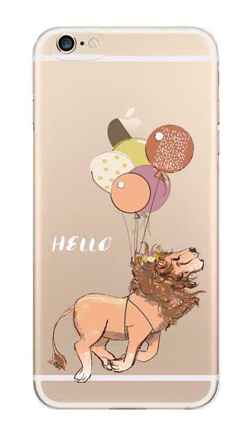 iPhone6sのクリア(透明)ケース、ハローライオンさん【スマホケース】