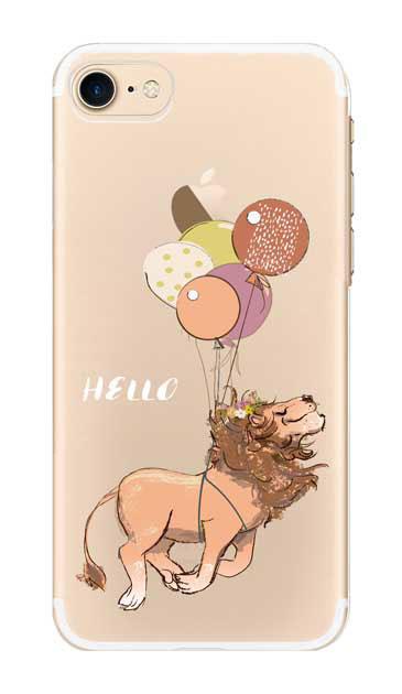 iPhone7のクリア(透明)ケース、ハローライオンさん【スマホケース】