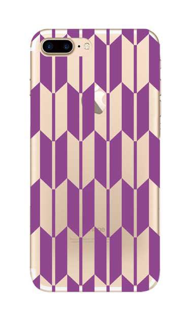 iPhone7 Plusのクリア(透明)ケース、矢絣【スマホケース】
