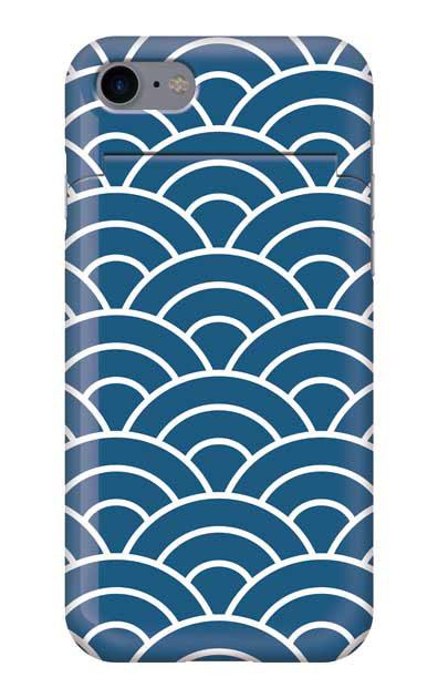 iPhone7のミラー付きケース、青海波【スマホケース】
