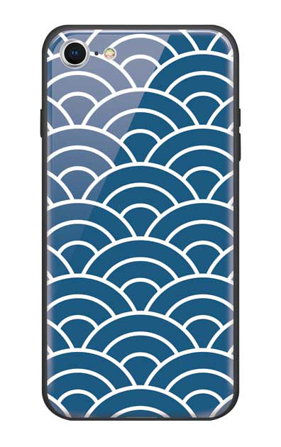 iPhone7のガラスケース、青海波【スマホケース】