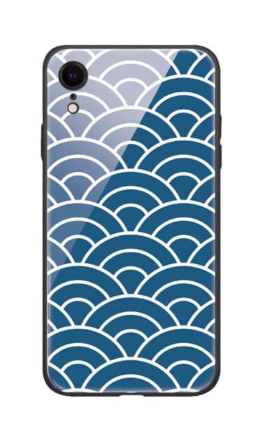 iPhoneXRのガラスケース、青海波【スマホケース】