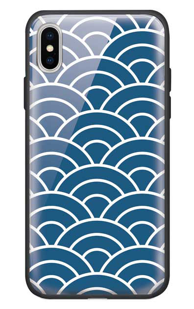 iPhoneXSのガラスケース、青海波【スマホケース】