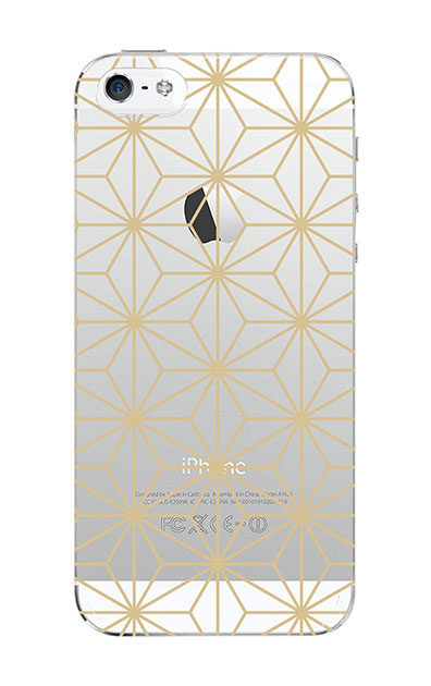 iPhone5Sのクリア(透明)ケース、麻の葉【スマホケース】
