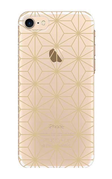 iPhone7のクリア(透明)ケース、麻の葉【スマホケース】