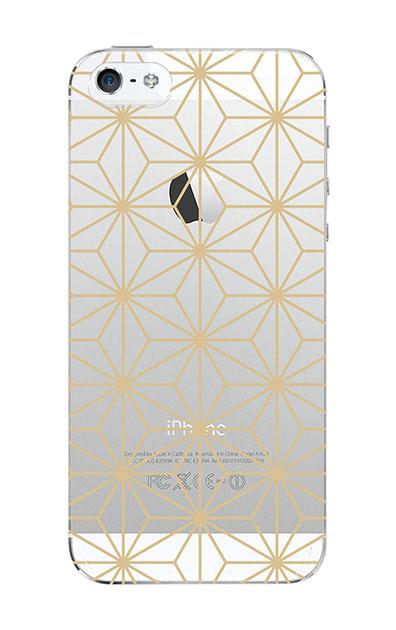 iPhoneSEのクリア(透明)ケース、麻の葉【スマホケース】