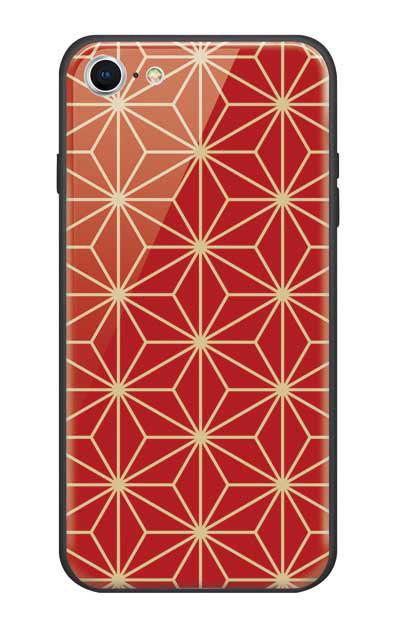 iPhone7のガラスケース、麻の葉【スマホケース】