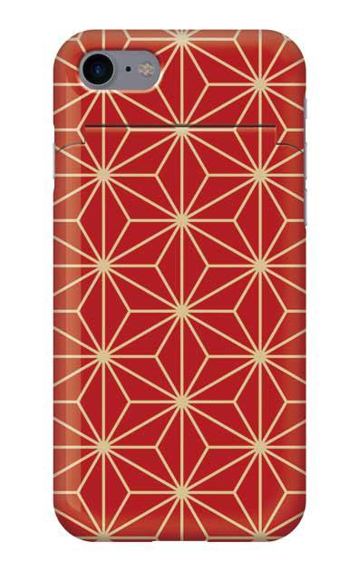 iPhone8のミラー付きケース、麻の葉【スマホケース】