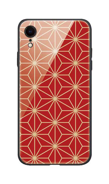 iPhoneXRのガラスケース、麻の葉【スマホケース】