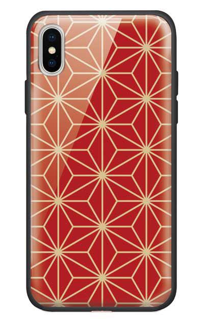 iPhoneXSのガラスケース、麻の葉【スマホケース】