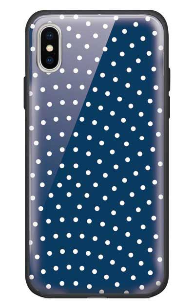 iPhoneXSのガラスケース、鮫小紋【スマホケース】