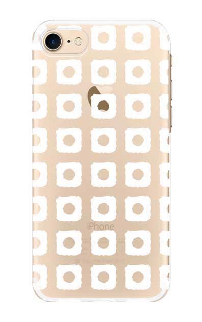 iPhone8のクリア(透明)ケース、鹿の子絞り【スマホケース】