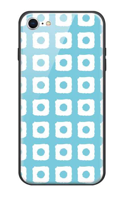 iPhone8のガラスケース、鹿の子絞り【スマホケース】