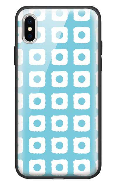 iPhoneXSのガラスケース、鹿の子絞り【スマホケース】