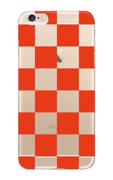 iPhone6sのクリア(透明)ケース、市松文様【スマホケース】
