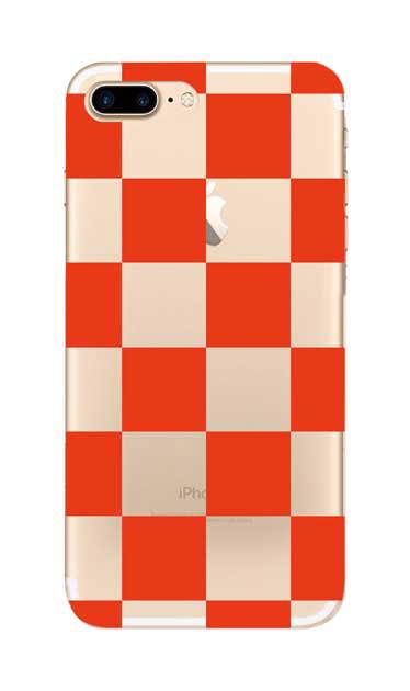 iPhone7 Plusのクリア(透明)ケース、市松文様【スマホケース】