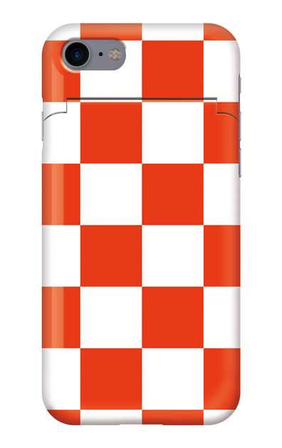 iPhone8のミラー付きケース、市松文様【スマホケース】
