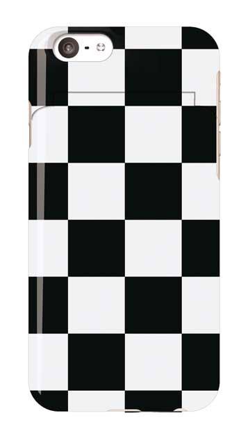 iPhone6sのミラー付きケース、市松文様【スマホケース】