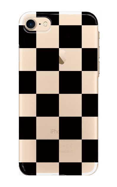 iPhone7のクリア(透明)ケース、市松文様【スマホケース】