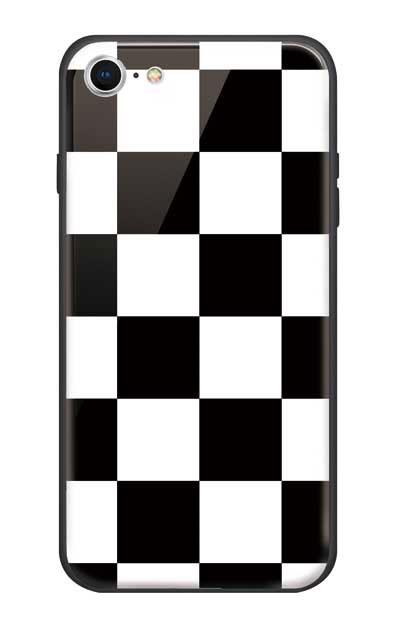 iPhone7のガラスケース、市松文様【スマホケース】