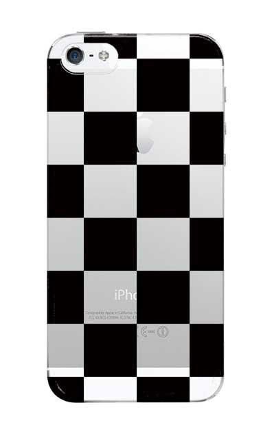 iPhoneSEのクリア(透明)ケース、市松文様【スマホケース】