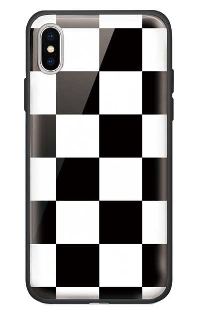 iPhoneXのガラスケース、市松文様【スマホケース】