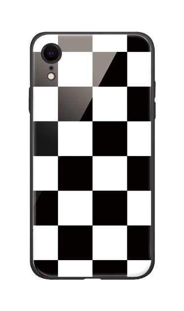 iPhoneXRのガラスケース、市松文様【スマホケース】