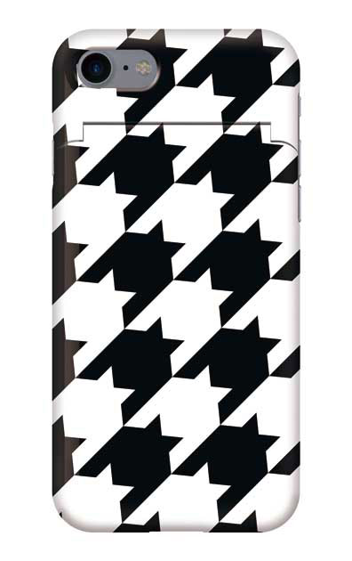 iPhone8のミラー付きケース、千鳥格子【スマホケース】