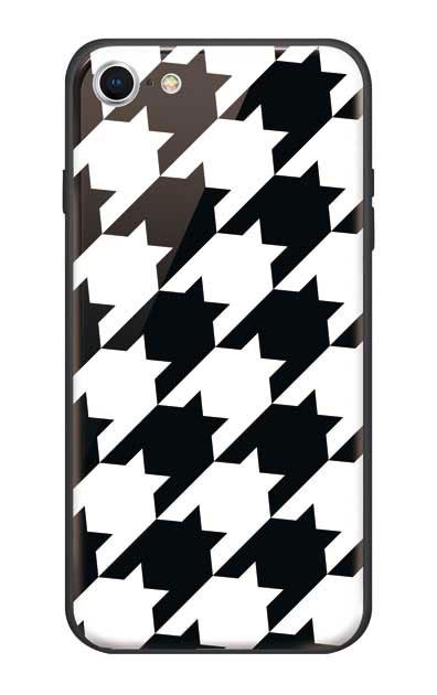iPhone8のガラスケース、千鳥格子【スマホケース】