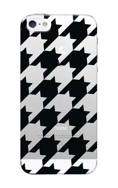 iPhoneSEのクリア(透明)ケース、千鳥格子【スマホケース】