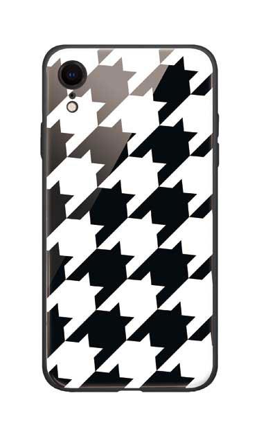 iPhoneXRのガラスケース、千鳥格子【スマホケース】