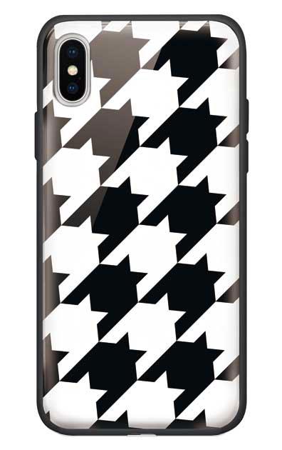 iPhoneXSのガラスケース、千鳥格子【スマホケース】