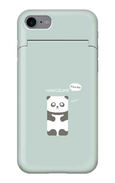 iPhone7のミラー付きケース、おひるね中の、はこづめパンダ