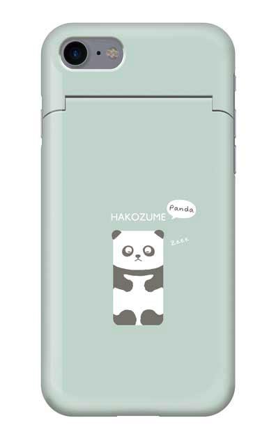 iPhone8のミラー付きケース、おひるね中の、はこづめパンダ