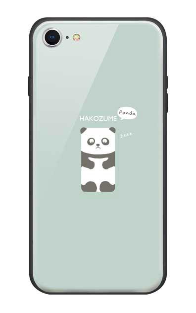 iPhone8のガラスケース、おひるね中の、はこづめパンダ