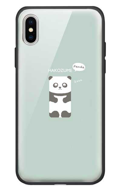 iPhoneXのガラスケース、おひるね中の、はこづめパンダ