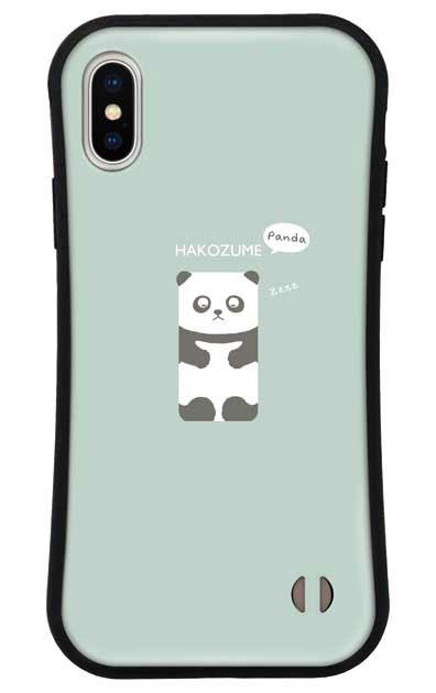 iPhoneXのグリップケース、おひるね中の、はこづめパンダ【スマホケース】