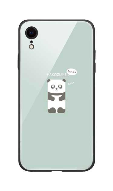 iPhoneXRのガラスケース、おひるね中の、はこづめパンダ