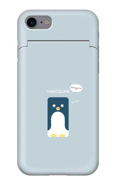 iPhone7のミラー付きケース、おひるね中の、はこづめぺんぎん