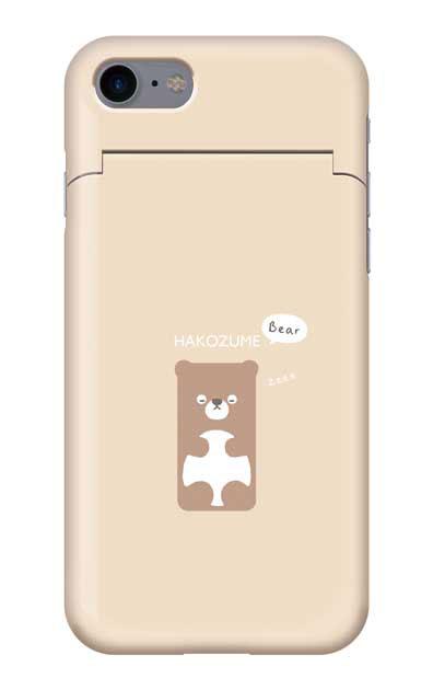 iPhone8のミラー付きケース、おひるね中の、はこづめベアー