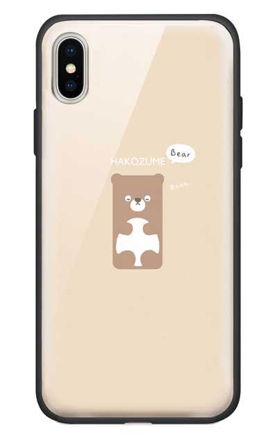 iPhoneXのガラスケース、おひるね中の、はこづめベアー