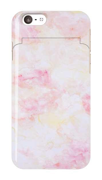 iPhone6sのミラー付きケース、ふんわりピンクマーブル【スマホケース】