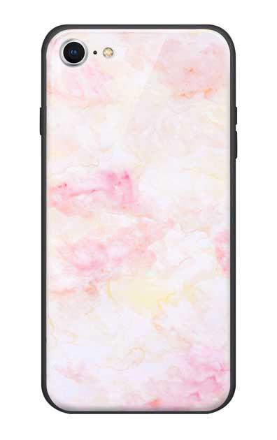iPhone7のガラスケース、ふんわりピンクマーブル【スマホケース】