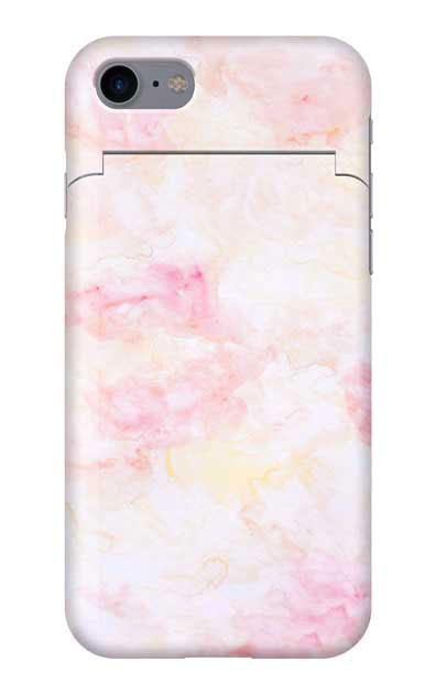 iPhone8のミラー付きケース、ふんわりピンクマーブル【スマホケース】