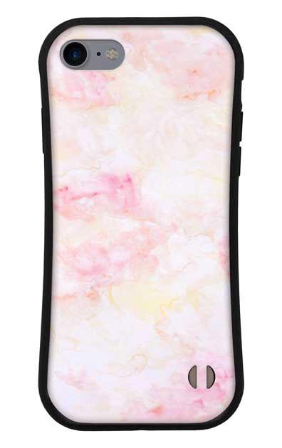 iPhone8のグリップケース、ふんわりピンクマーブル【スマホケース】