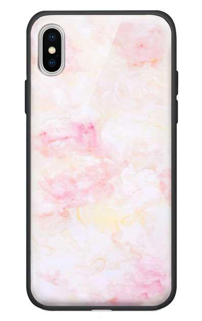 iPhoneXのガラスケース、ふんわりピンクマーブル【スマホケース】