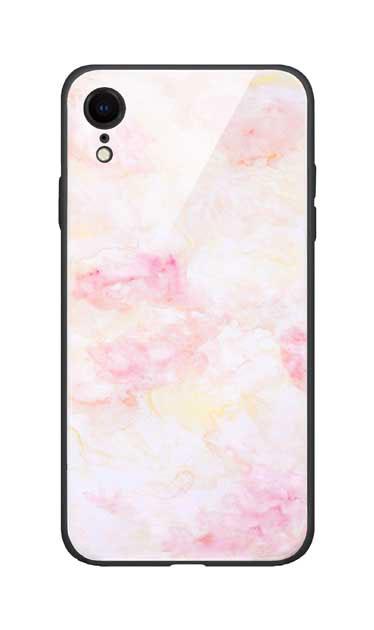 iPhoneXRのガラスケース、ふんわりピンクマーブル【スマホケース】