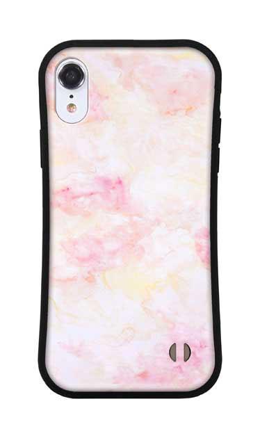 iPhoneXRのグリップケース、ふんわりピンクマーブル【スマホケース】