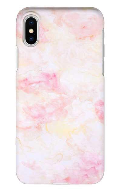 iPhoneXSのケース、ふんわりピンクマーブル【スマホケース】